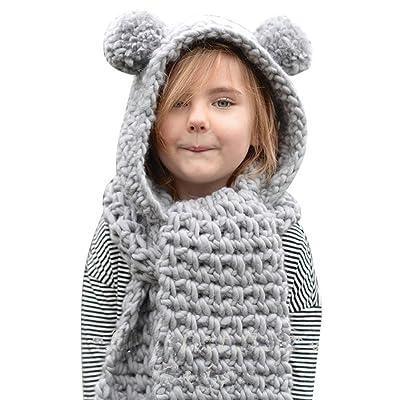 2017 Winter Au2017 Super Cute New Fashion Keep Warm Winter Wool Knitted Double Ball Hats Baby Girls Shawls Hooded Cowl Beanie Scarf (Grey)