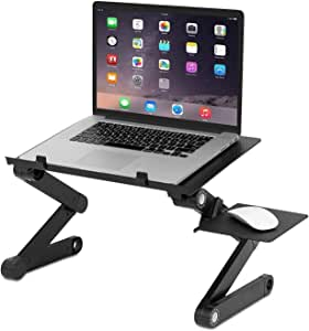 McMola Portable Adjustable Laptop, Reading Stand Up/Sitting Table with Mouse Pad, Ergonomics Design- Aluminum