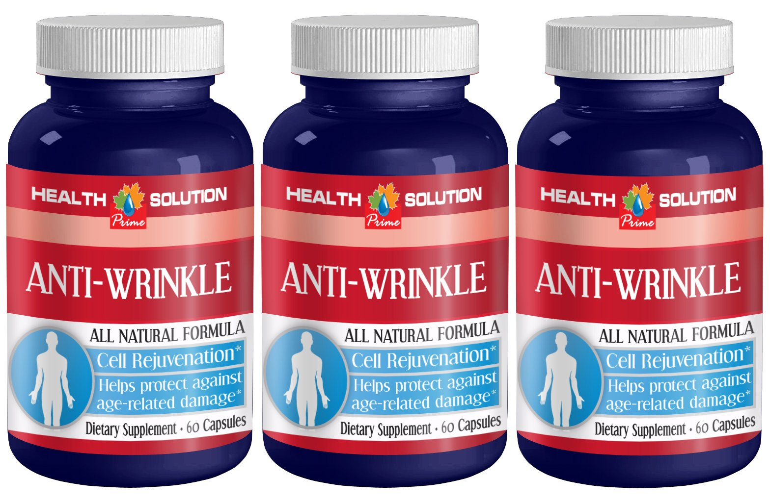 Collagen vitamin A - ANTI-WRINKLE ANTI-AGING COMPLEX - Skin radiance dietry supplement (3 Bottles 180 Capsules)