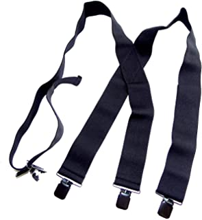 """product image for Holdup Brand 2"""" Wide Black XL hidden Undergarment Suspenders worn under your shirt with patented no-slip clips"""