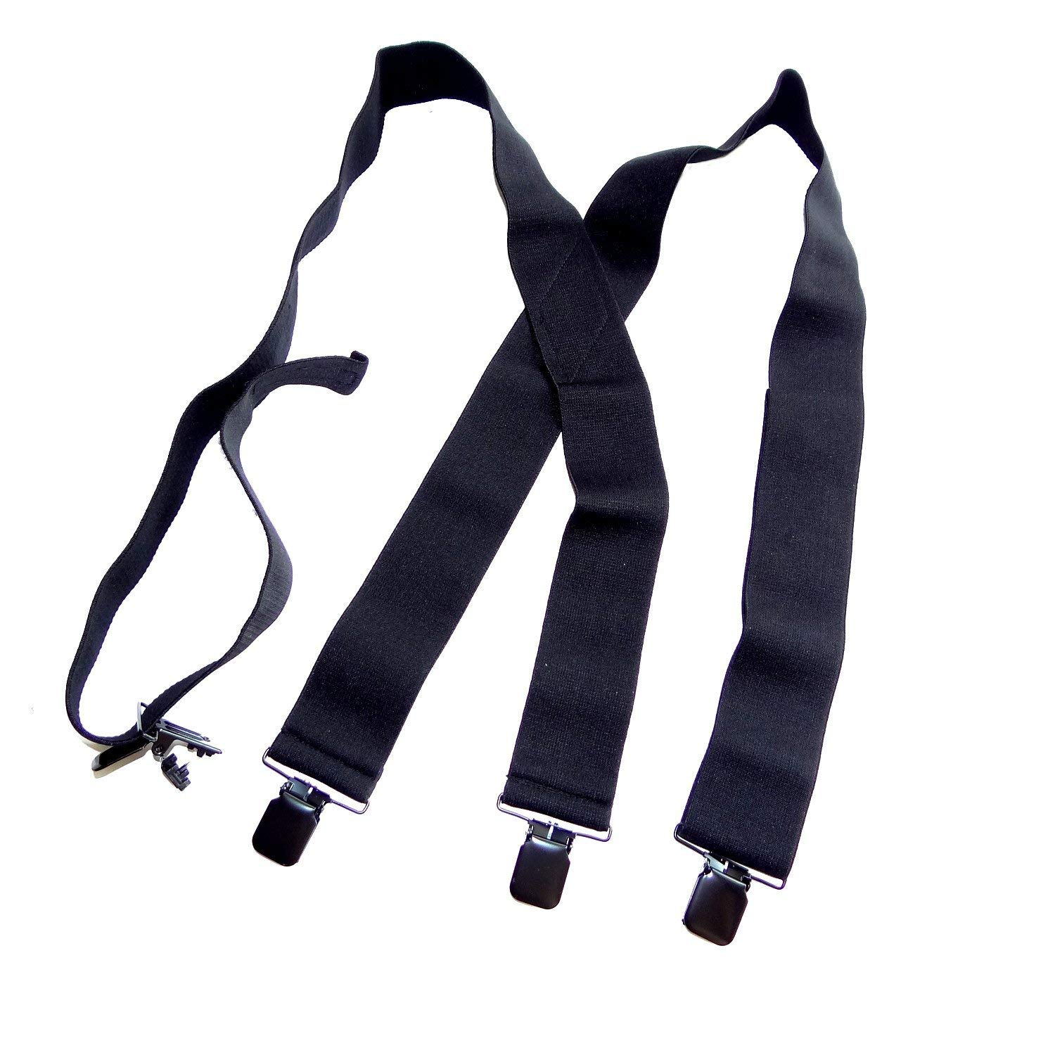 HoldUp 2'' Wide Black XL Undergarment Suspenders worn under your shirt with patented no-slip clips