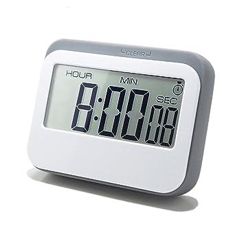Inl temporizador de cocina digital 12/24 horas reloj despertador con parte posterior magnética y soporte retráctil, pantalla LCD grande: Amazon.es: Hogar