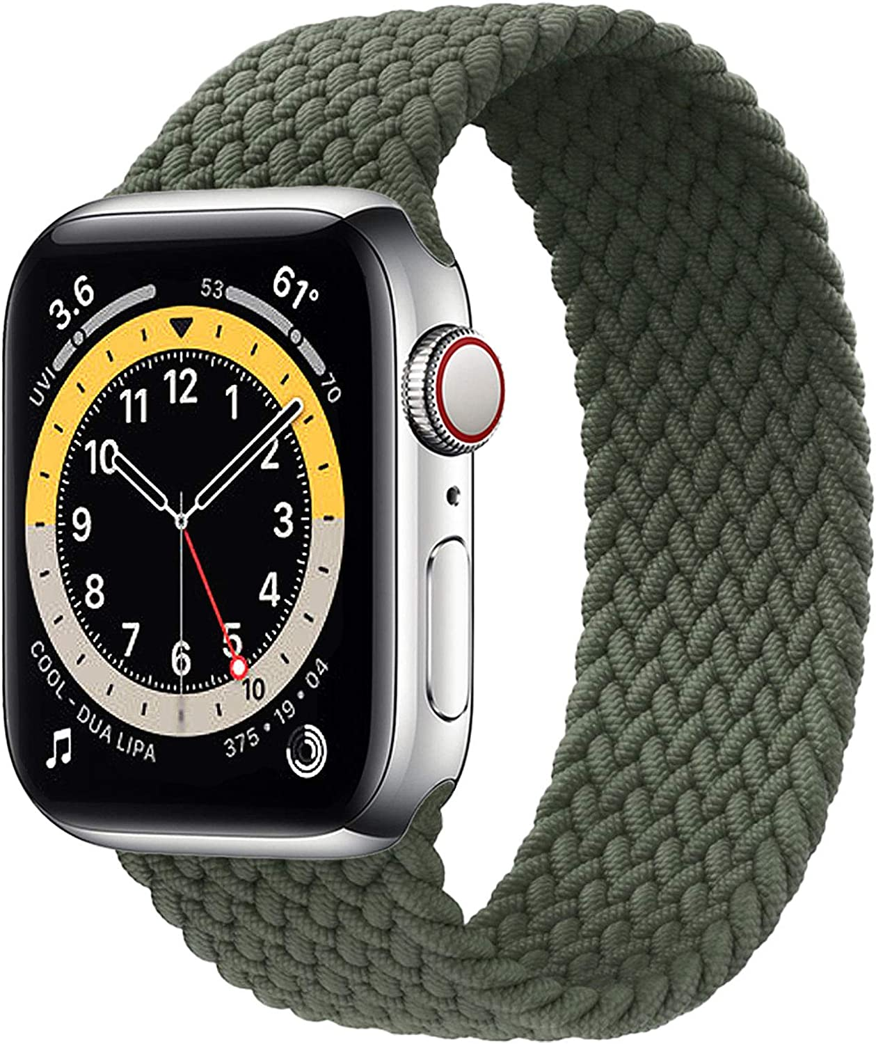 WAAILU Solo Loop Braided Band Woven Compatible for Apple Watch SE Series 6 40mm 44mm Compatible for Iwatch 5/4/3/2/1 38mm 42mm-(Green-38/40-6 )