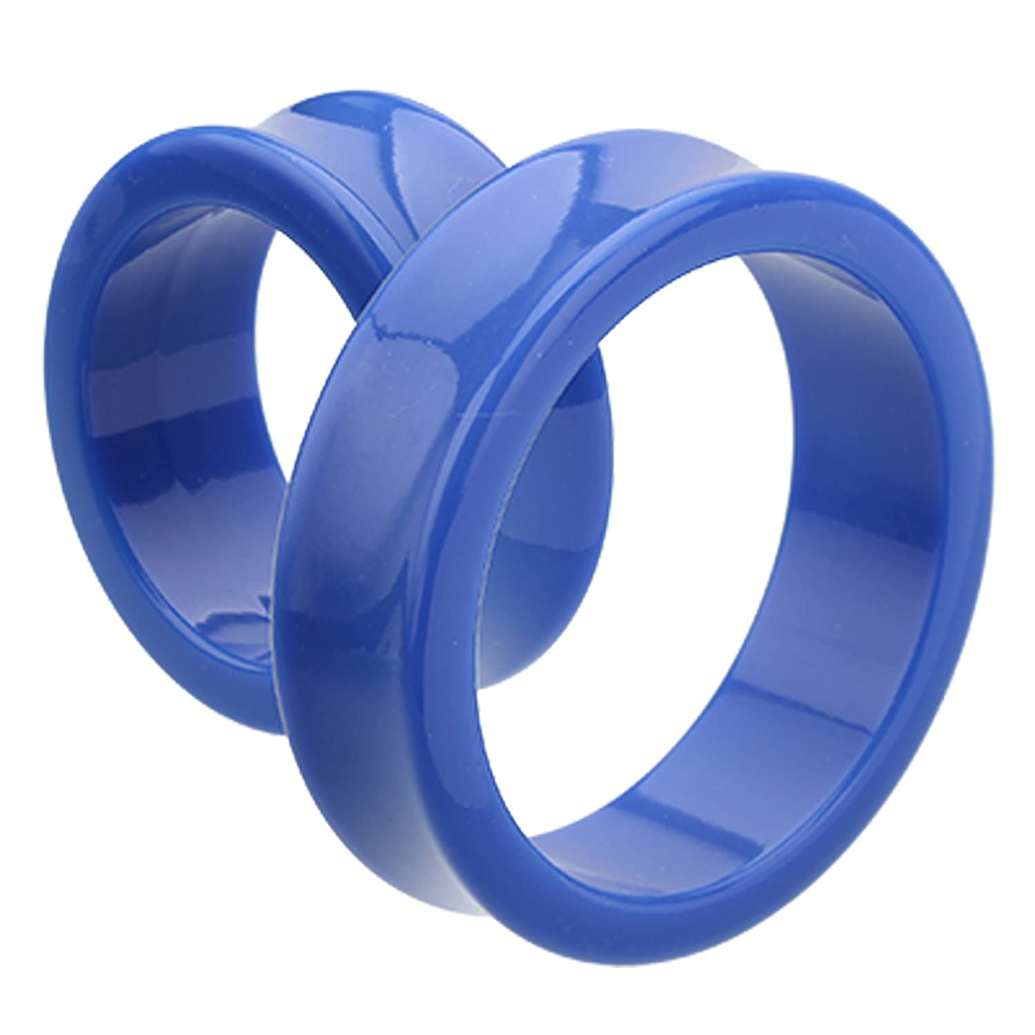 Blue Supersize Neon Colored Acrylic Double Flared Ear Tunnel Plug Sold as a Pair