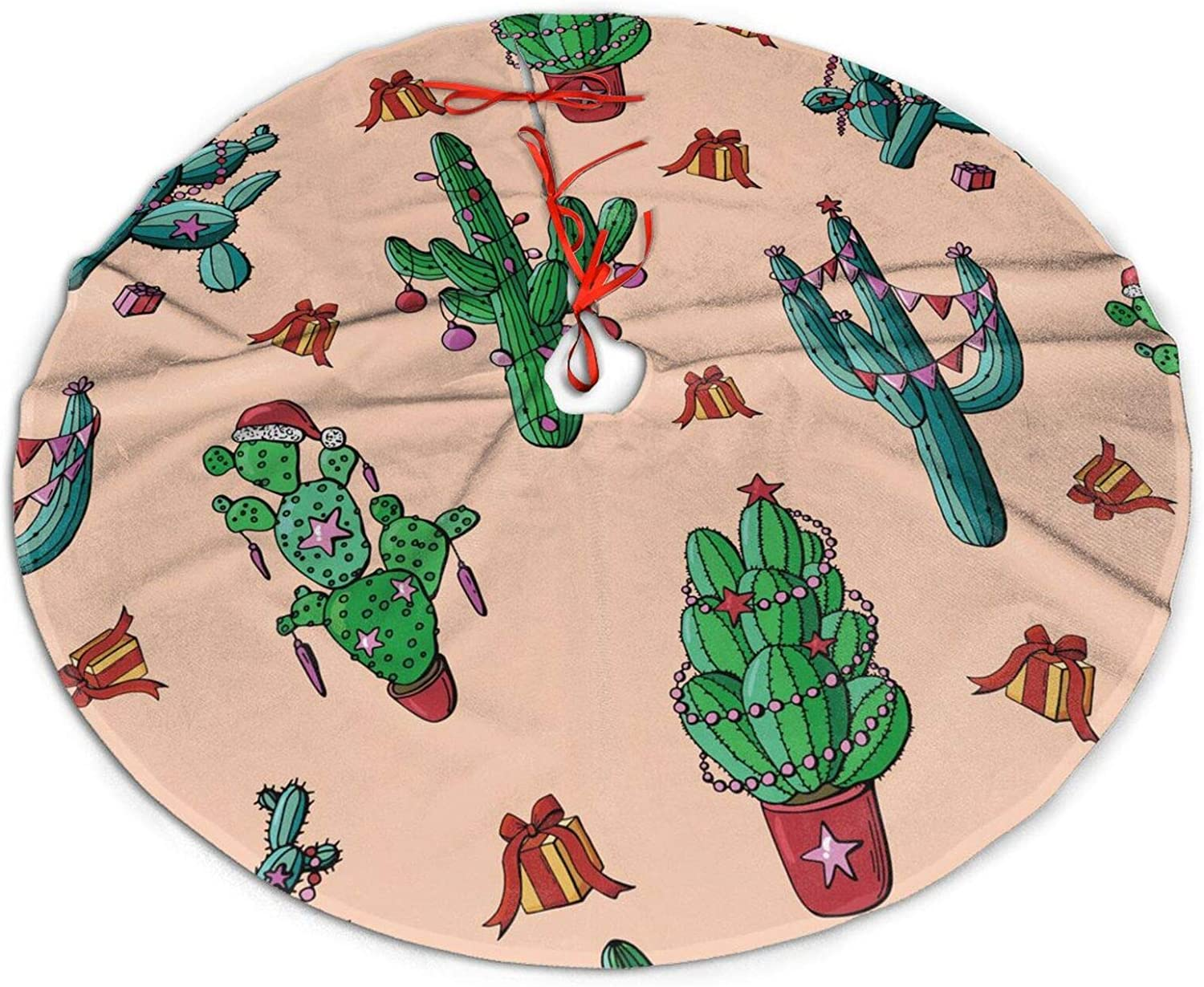 MINIOZE Christmas Cactus Gift Hat Botanical Themed 30 36 48 Inch Big Christmas Plush Tree Skirt Carpet Mat Rugs Cover Large Round Pad Classic Xmas Party Favors Ornament Decoration