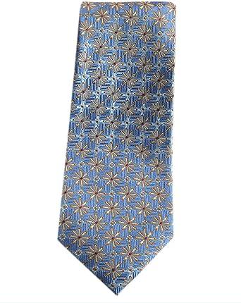 Extra Larga Seven Fold Corbata de 100% seda XL Azul Floral Corbata ...