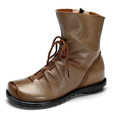 1c5a0d982aab Socofy Damen Stiefeletten, Halbschaft Stiefel Flache Schnürstiefel Ankle  Boots Langschaftstiefel Damen Stiefelette Witer Schuhe Braun