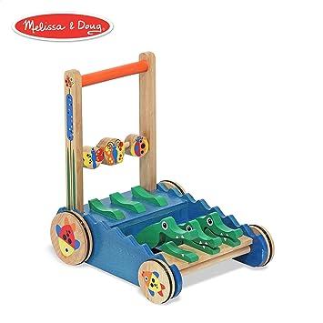 Melissa Doug Chomp Clack Alligator Push Toy Wooden Activity Walker Sturdy Construction Makes Sounds When Pushed 1175 H 15 W 15 L