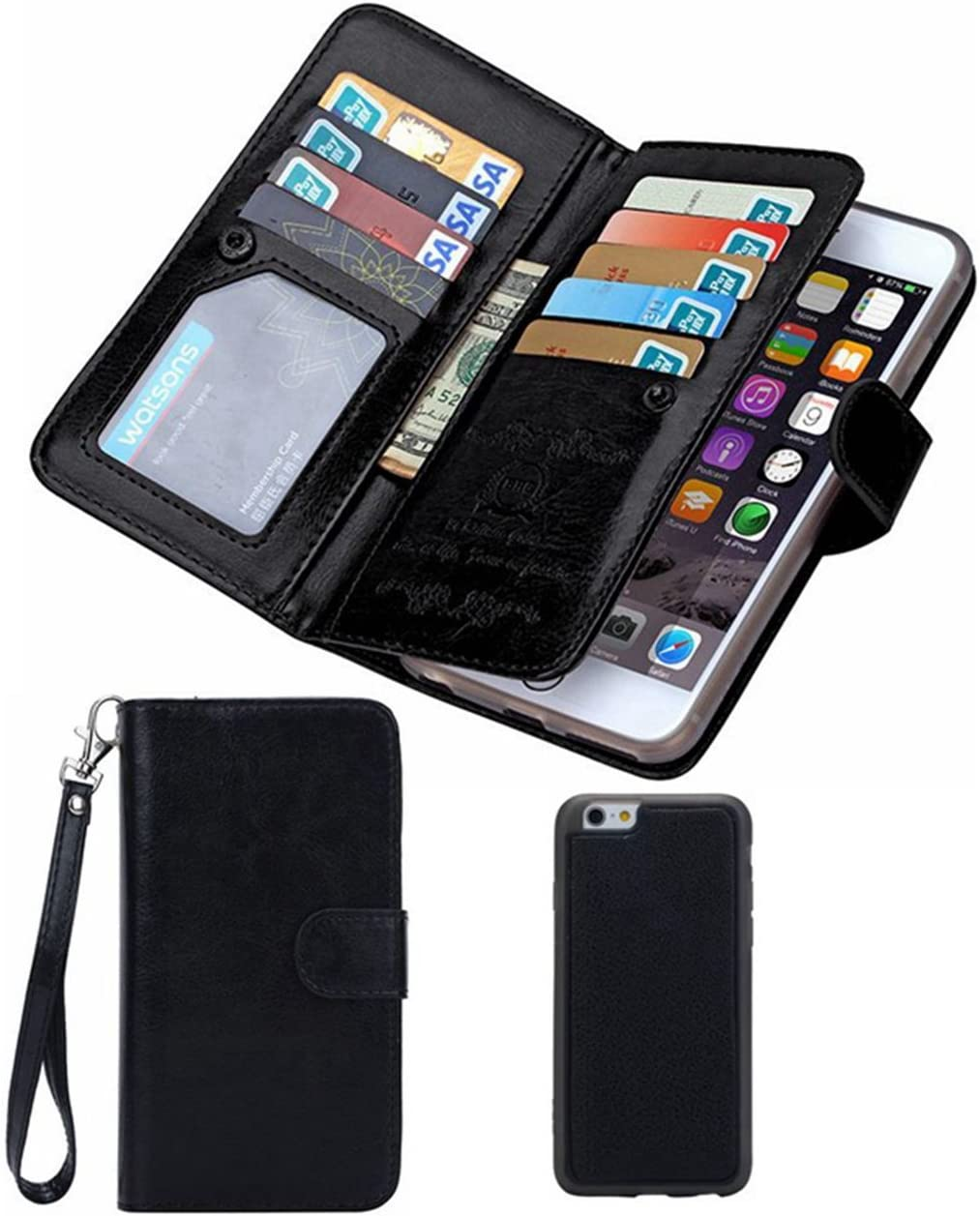 HYSJY iPhone 5S/SE Wallet Case, Magnetic Detachable PU Leather Wallet Purse for Women Men with Strap, Credit Card Slots, Card Holer,Flip Slim Cover Case Fit iPhone 5/5S/SE (Card-Black)