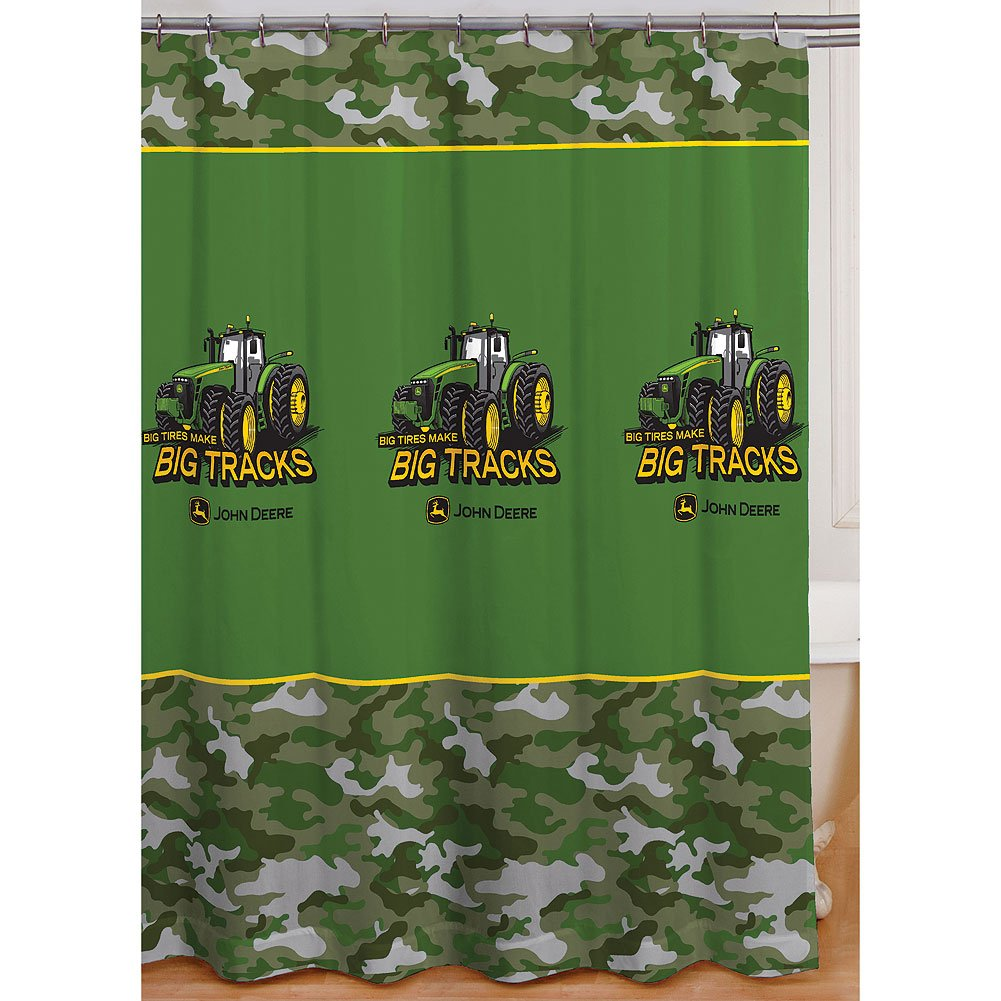 John Deere Kitchen Curtains Amazoncom John Deere Shower Curtain Big Tracks Fabric 72x72
