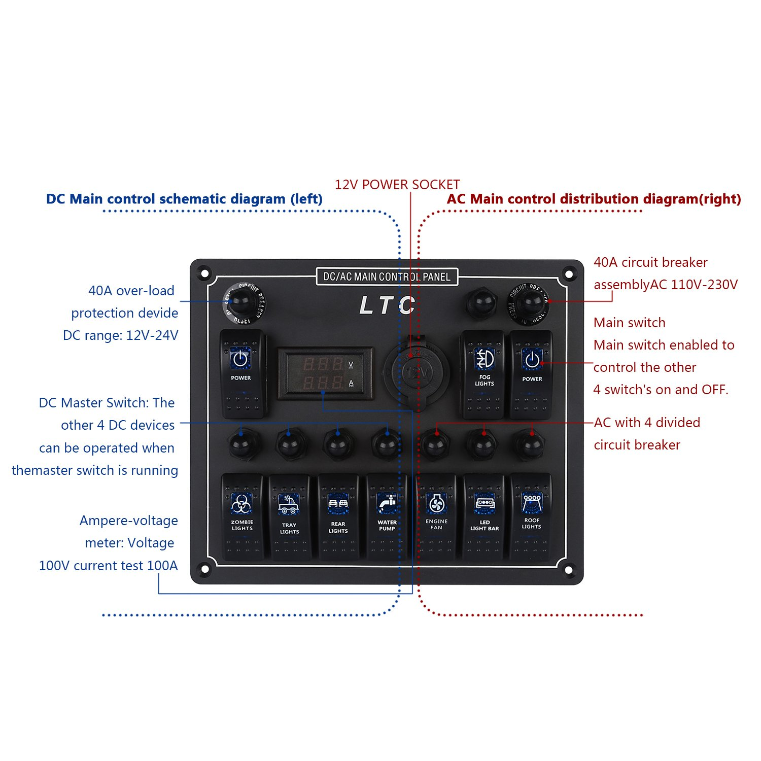 Ltc 10 Gang Waterproof Car Auto Boat Marine Led Ac Dc Circuit Breaker Schematic Electronic Rocker Switch Panel Digital Voltmeter With 12v Cigarette Socket Sports