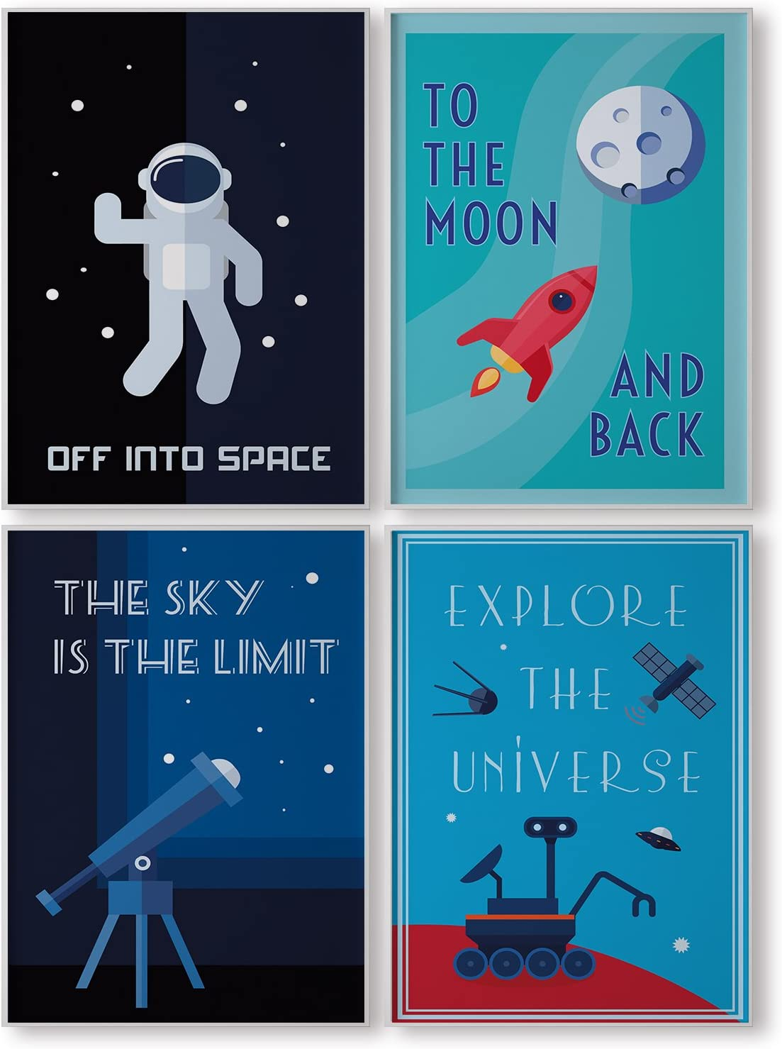 Pillow Toast Space Wall Art Set Of Four Astronaut Universe Posters For Kids Room Decor Children Bedroom Decoration Amazon Co Uk Kitchen Home