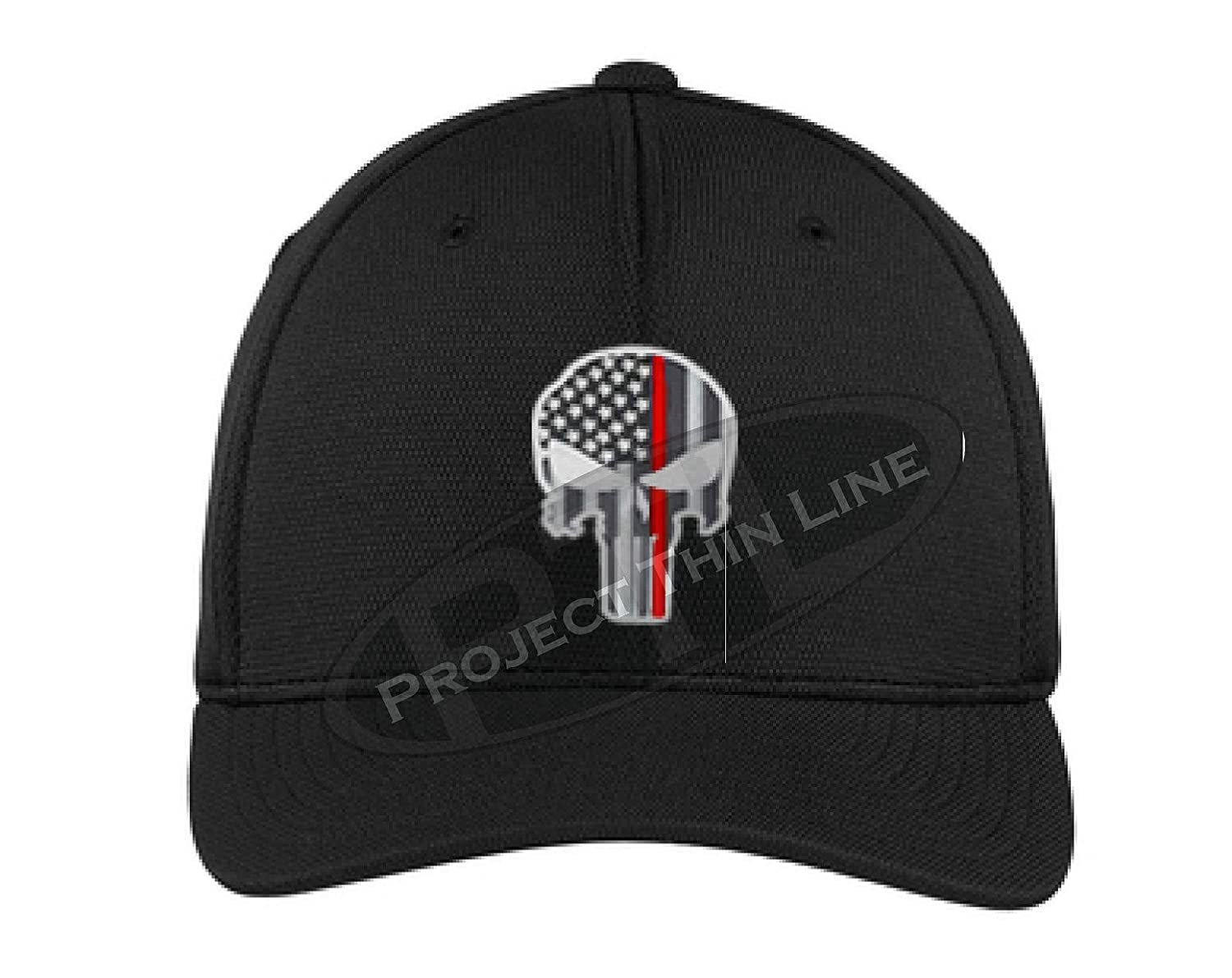 Embroidered Thin RED Line Skull Subdued American Flag Firefighter Flexfit  Hat at Amazon Men s Clothing store  a20be3aa96f