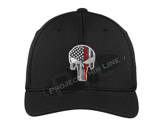 90fcf4236da Embroidered Thin RED Line Skull Subdued American Flag Firefighter Black Flexfit  Hat (S M