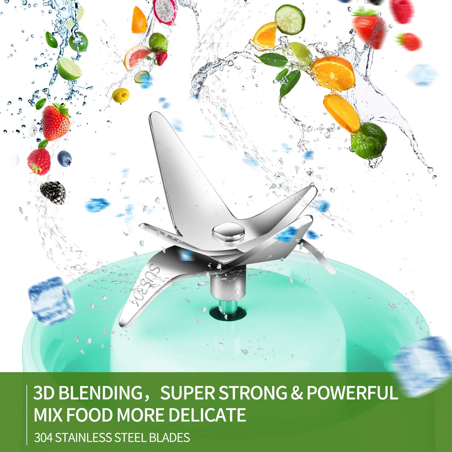 Mini Blender Jet USB Rechargeable with Glass Bottle for Baby Food Yeaky Portable Blender 16oz Juicer Cup with Detachable Base Blue Powerful Personal Blender for Smoothie and Shakes Home Outdoor Office and Travel