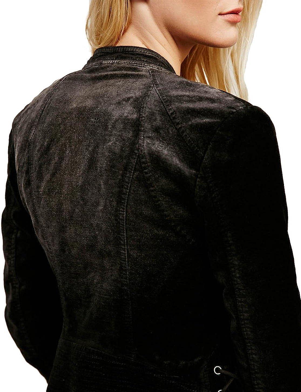 Richlulu Womens Cross Lace Up Cuff Velvet Bomber Biker Jacket Blazer