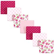 Hudson Baby Unisex Baby Flannel Receiving Blankets 7-Pack, Rose, One Size