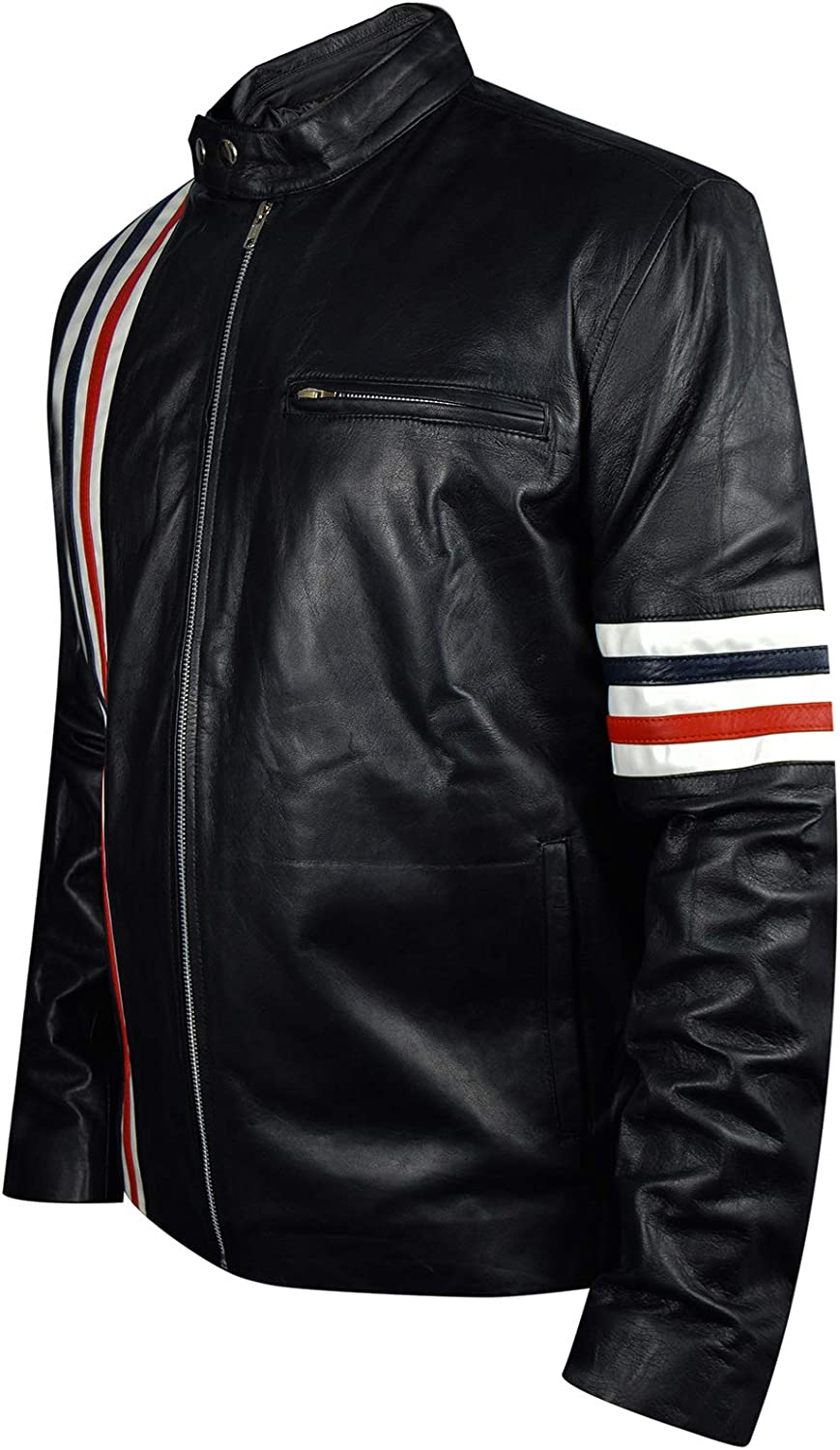 Peter Fonda Easy Rider Sheep Leather Jacket with US Flag