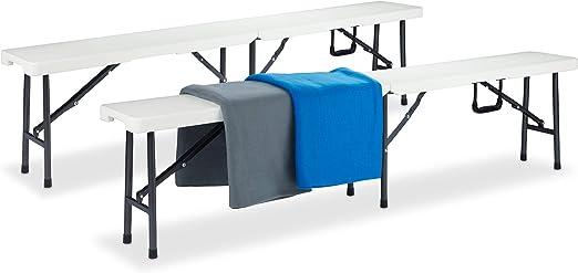 Relaxdays Set de 2 Bancos Plegables, Jardín, Exterior, Vestuario, Portátil, Maleta, Plástico, 42 x 180 x 25 cm, Blanco: Amazon.es: Jardín