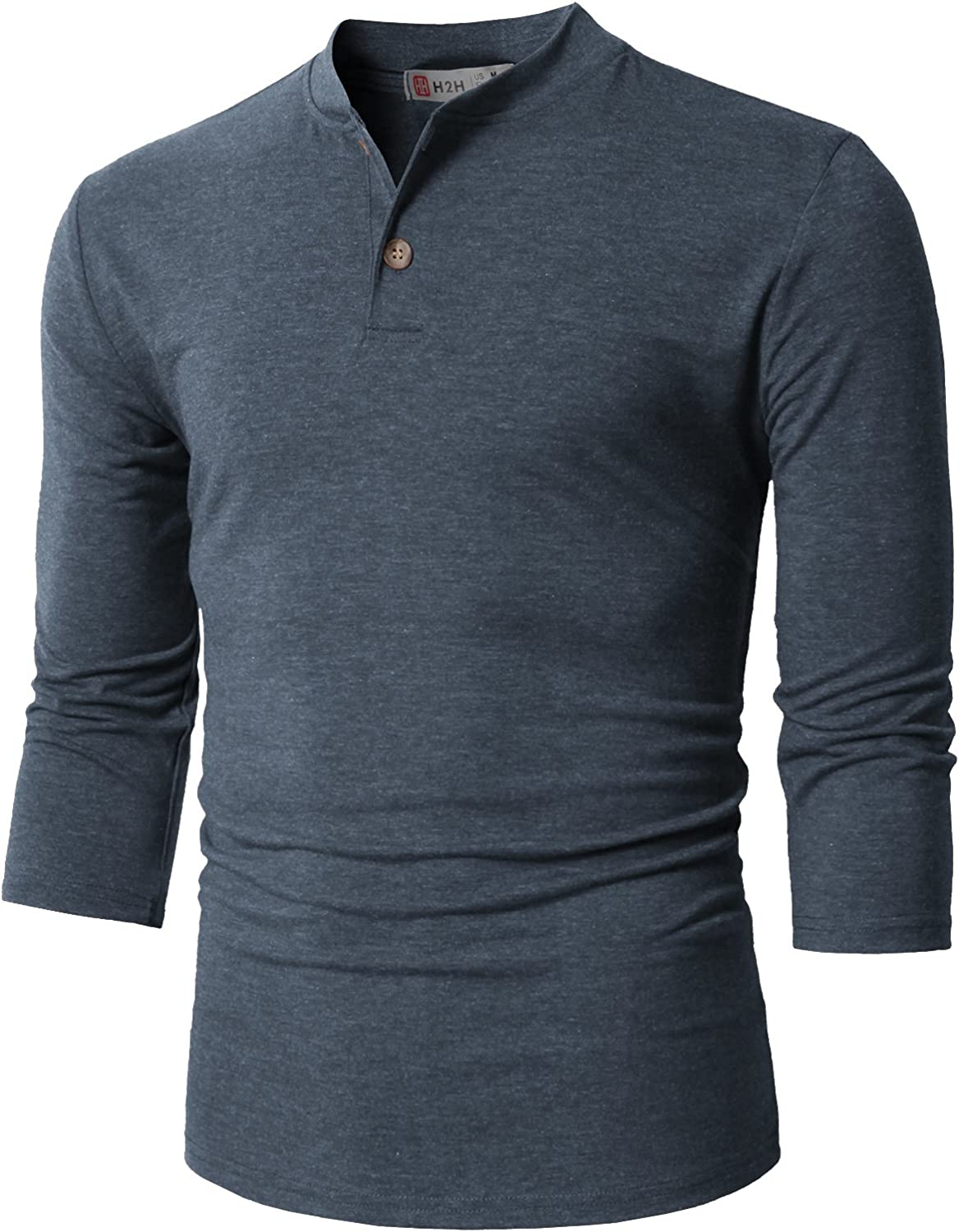 H2H Mens Casual Premium Slim Fit Henley Shirts Lightweight Thin Fabric