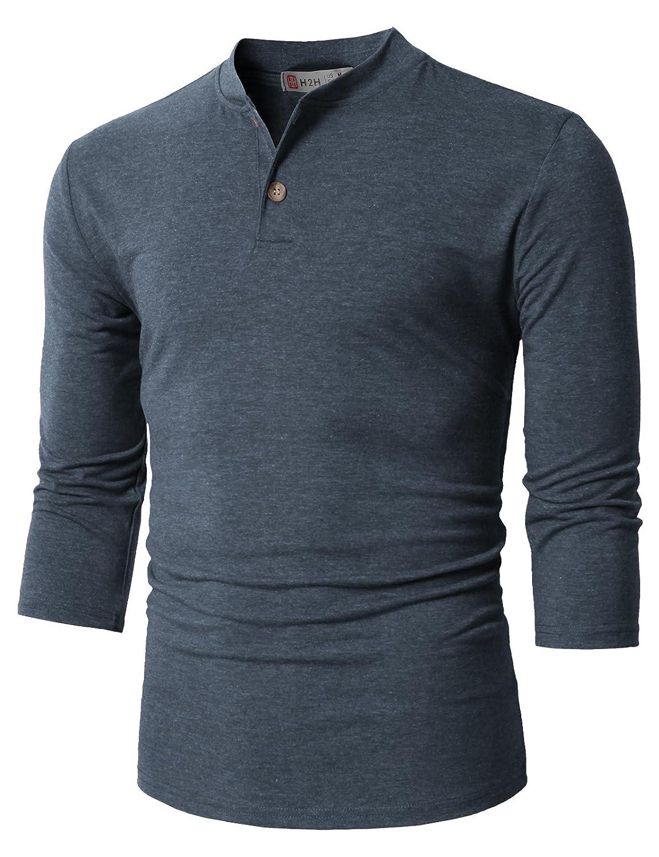 【H2H】ベーシック メンズ カジュアル ファッション オシャレ カラー ヘンリーネック 七分袖 ティーシャツ CMTTS0174 B076J7D6X5 XL|Cmtts0205-blue Cmtts0205-blue XL