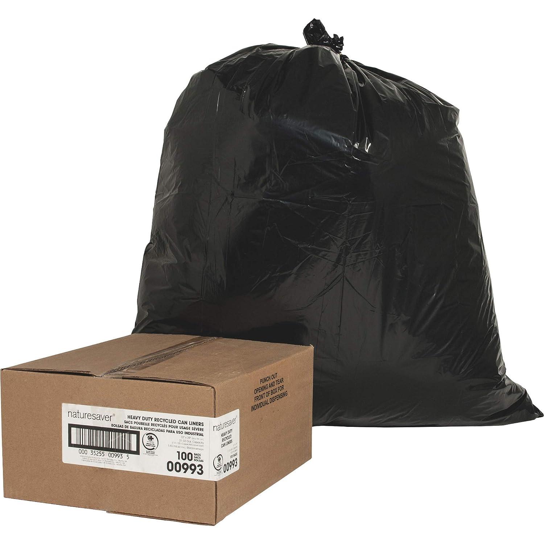 Nature Saver Black Low-Density Recycled Can Liners Trash Bag, Medium, 100