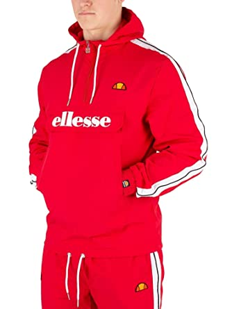 6a4cde19 ellesse Men's Fighter 1/2 Zip Track Jacket, Red at Amazon Men's ...