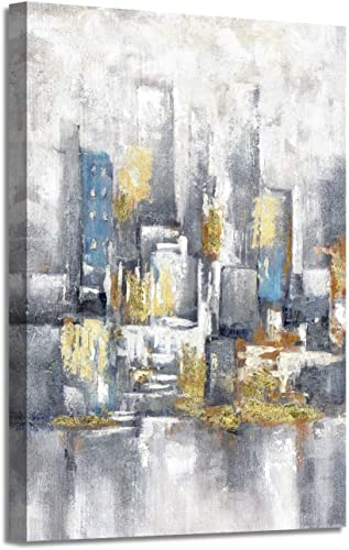 Abstract Canvas Cityscape Wall Art Textured Painted City Buildings Contemporary Pictures Artwork for Home Office 36 x 24 x 1 Panel