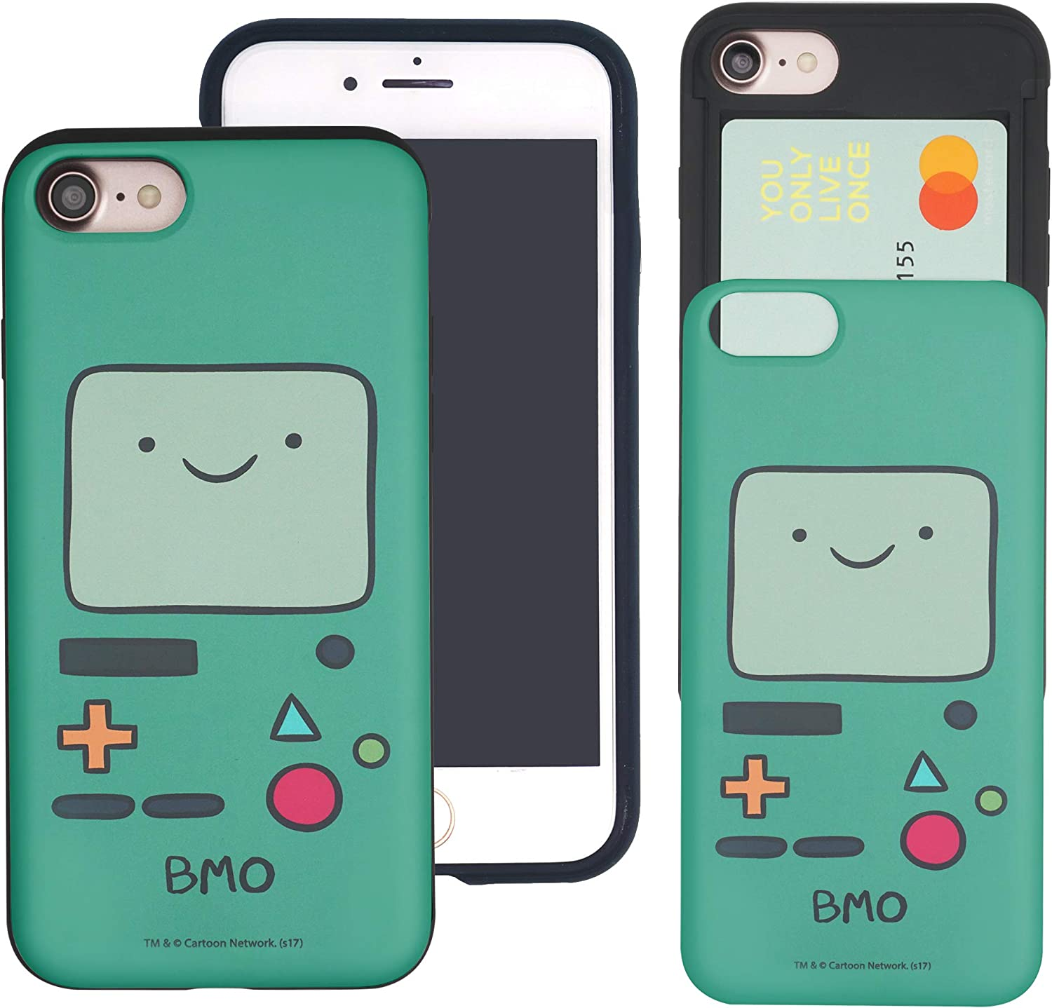 Compatible with iPhone 6S / iPhone 6 Case (4.7inch) Adventure Time Slim Slider Card Slot Dual Layer Holder Bumper Cover - Beemo (BMO)