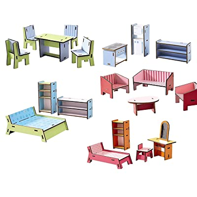 HABA Little Friends Deluxe Dollhouse Furniture Set with 5 Rooms (19 Pieces) for Villa Sunshine: Toys & Games