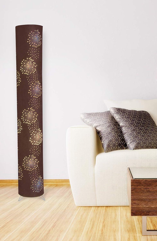lampadaire m/étal//tissu moderne id/éal pour salon /& chambre /à coucher lampadaire 120 x 18 cm avec 2x prise E14 40W Lampe de salon N/ÄVE lampadaire en tissu Aurona brun lampe de lecture