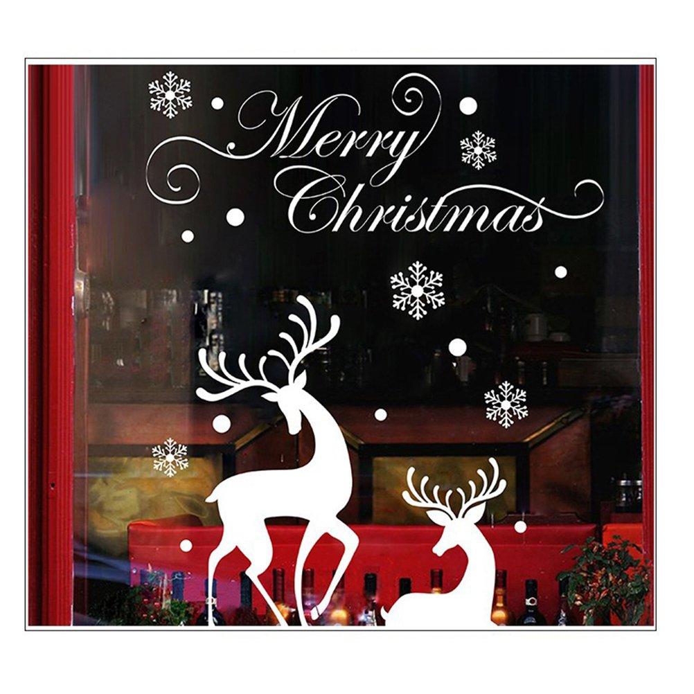 Adesivi vetrofanie natale WINOMO Adesivo finestra per festa di Natale con Renna e lettere