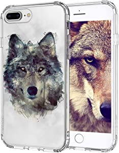 MOSNOVO Wolf Pattern Designed for iPhone 8 Plus Case/iPhone 7 Plus Case - Clear - Clear