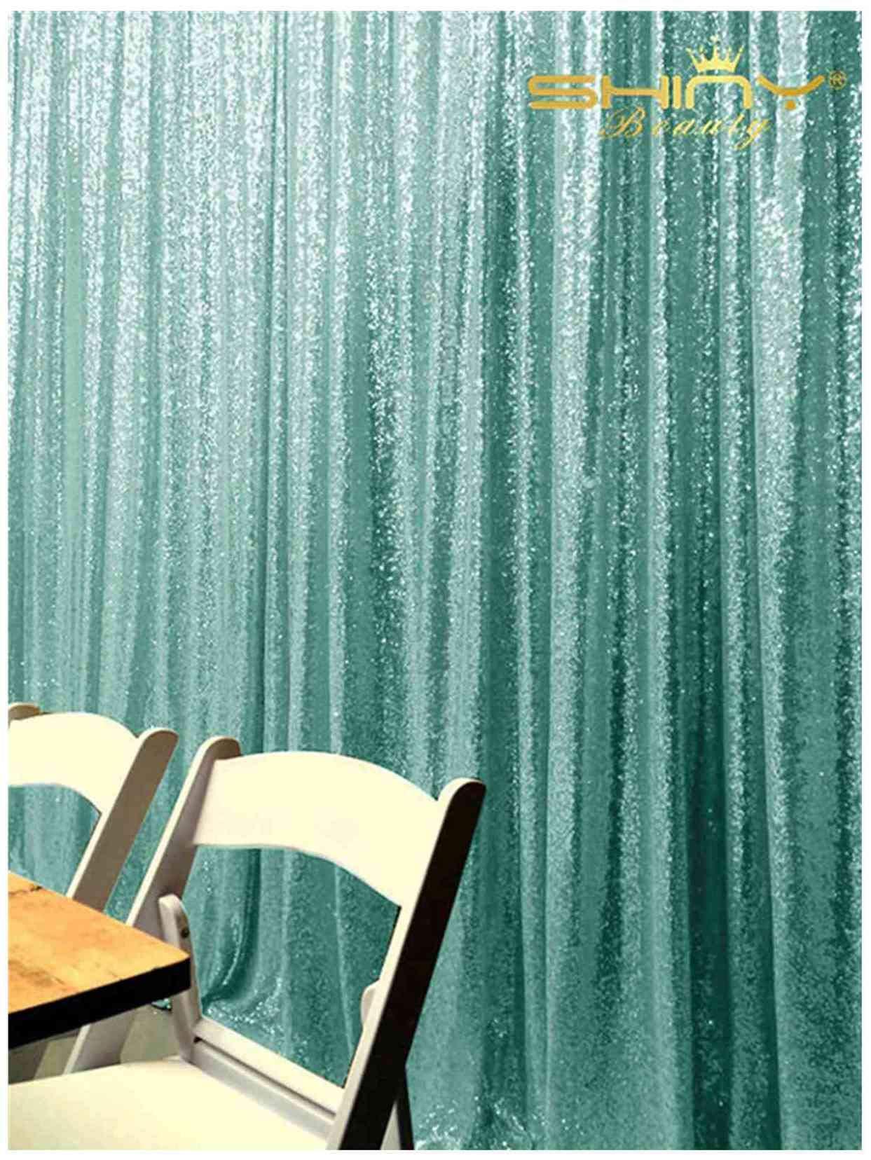 Backdrop Curtains 4FTx7FT Happy Birthday Backdrop Prince Teal Sequin Backdrop Y1108
