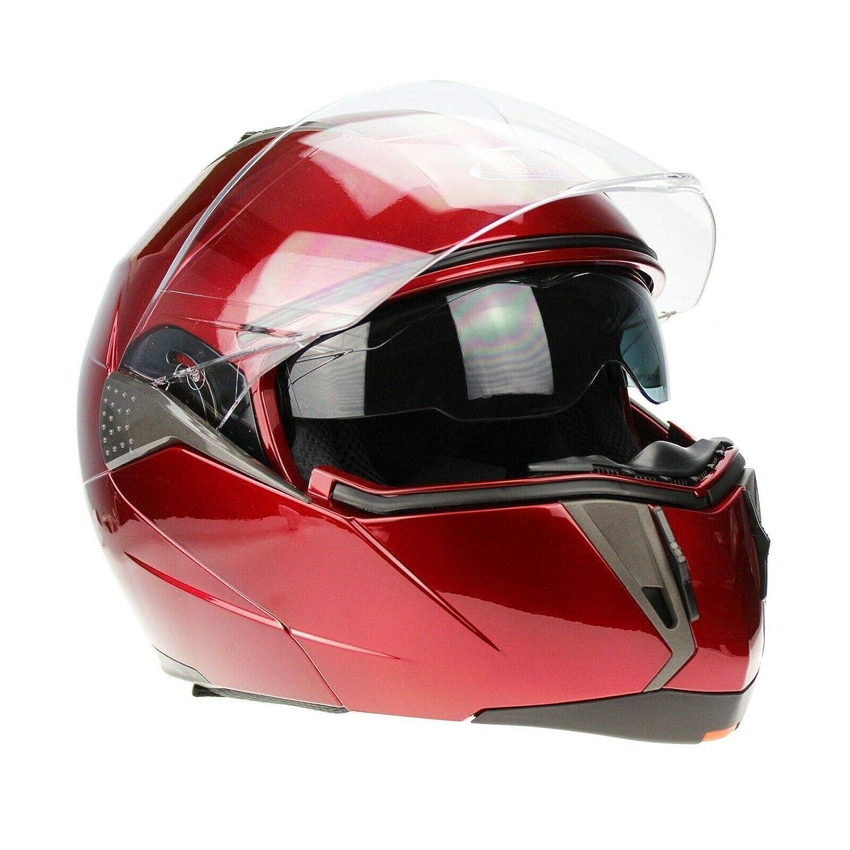 3GO CASCHI Moto da Uomo E335 Adulti Casco Moto Modulare Sportivo Touring Scooter Flip-up Racing apribile con Doppia Visiera ECE Approvato