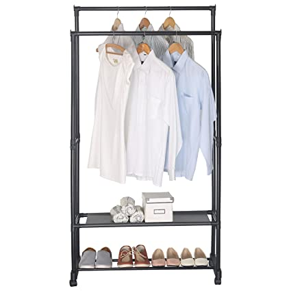 WOLTU Double-rail Garment Rack 2 Tiers Clothes Storage Shelves on Wheels  sc 1 st  Amazon.com & Amazon.com: WOLTU Double-rail Garment Rack 2 Tiers Clothes Storage ...