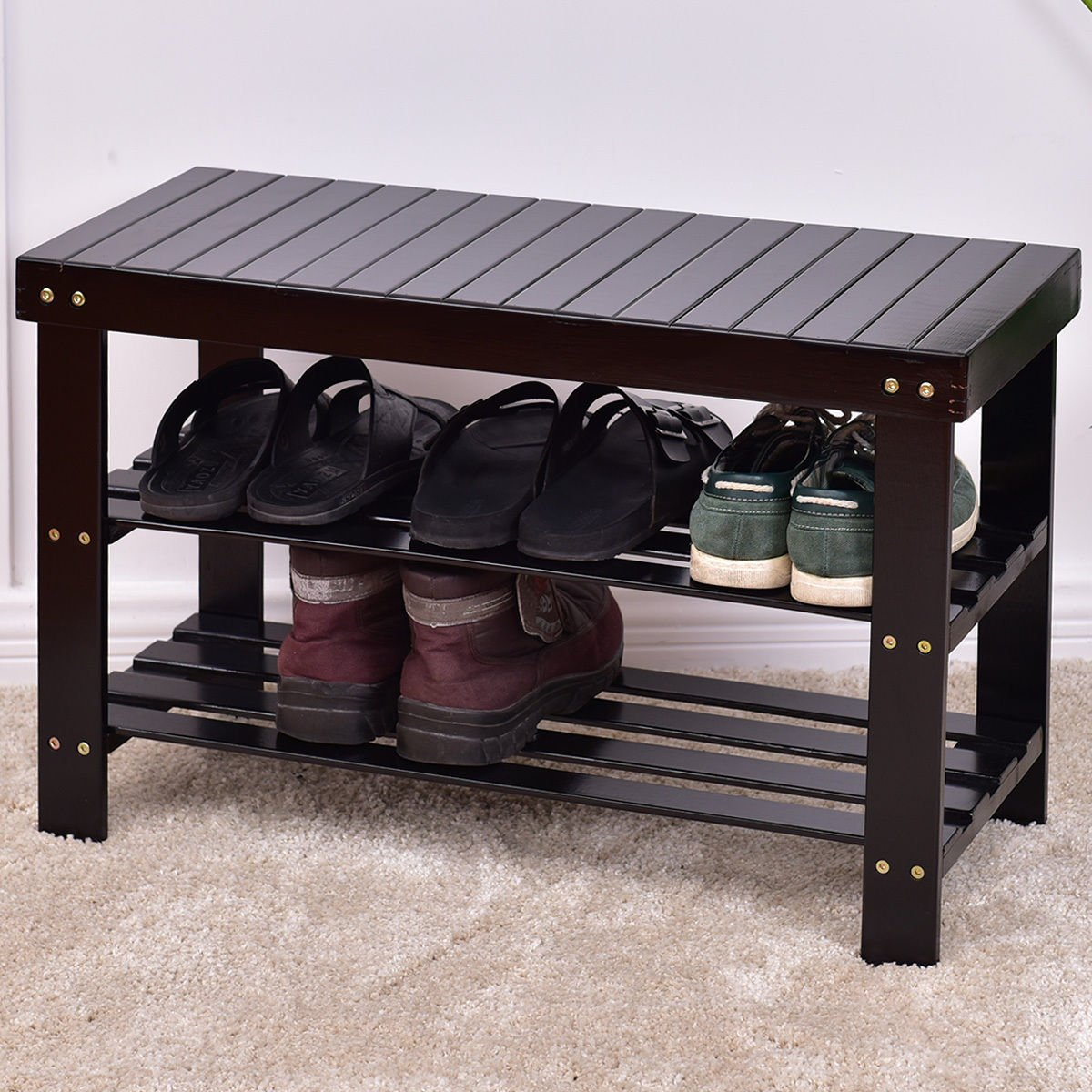 COSTWAY Bamboo Shoe Rack Bench 3-Tier Free Standing Wood