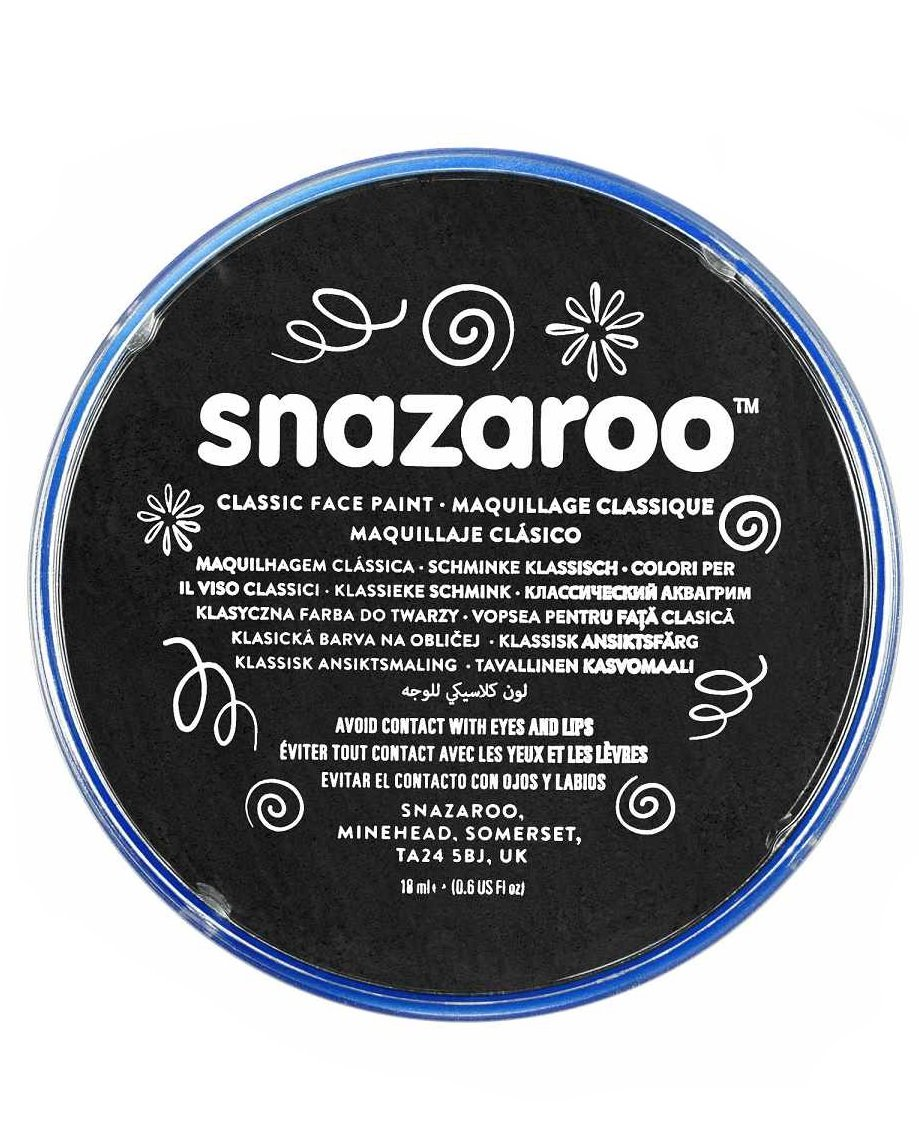 18ml Black Snazaroo High Quality Face Make Up Paint for Parties & Fancy Dress