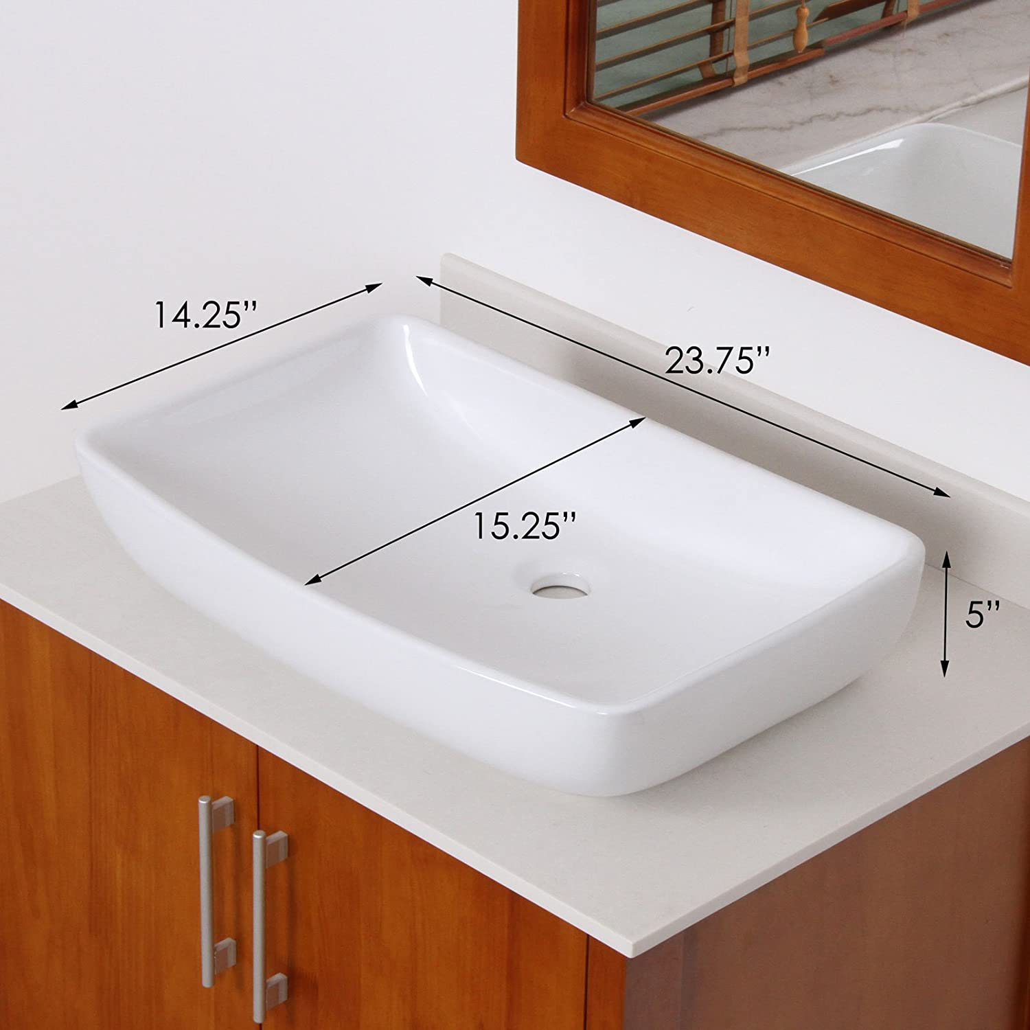 ELITE Bathroom Long Style White Ceramic Porcelain Vessel Sink Chrome Single Lever Faucet Combo