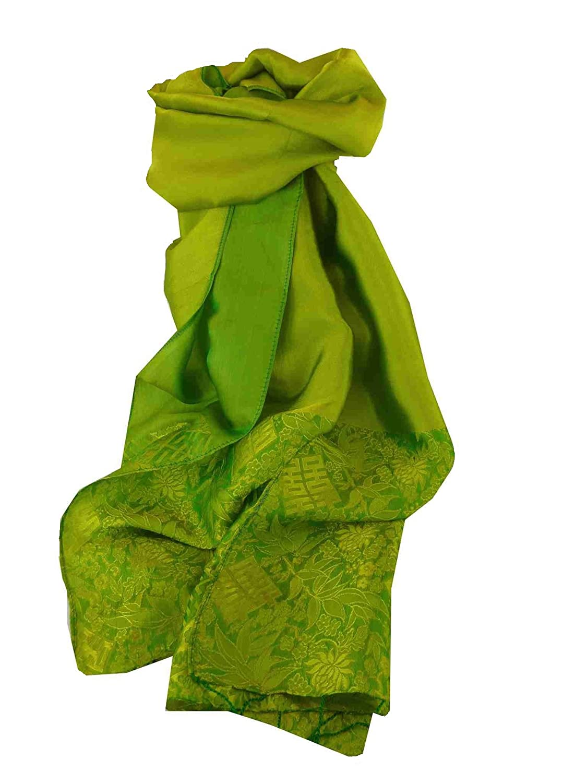Vietnamese Silk Weave Scarf Reversible Hoi-An Hoa-Lu Pattern Jade by Pashmina & Silk
