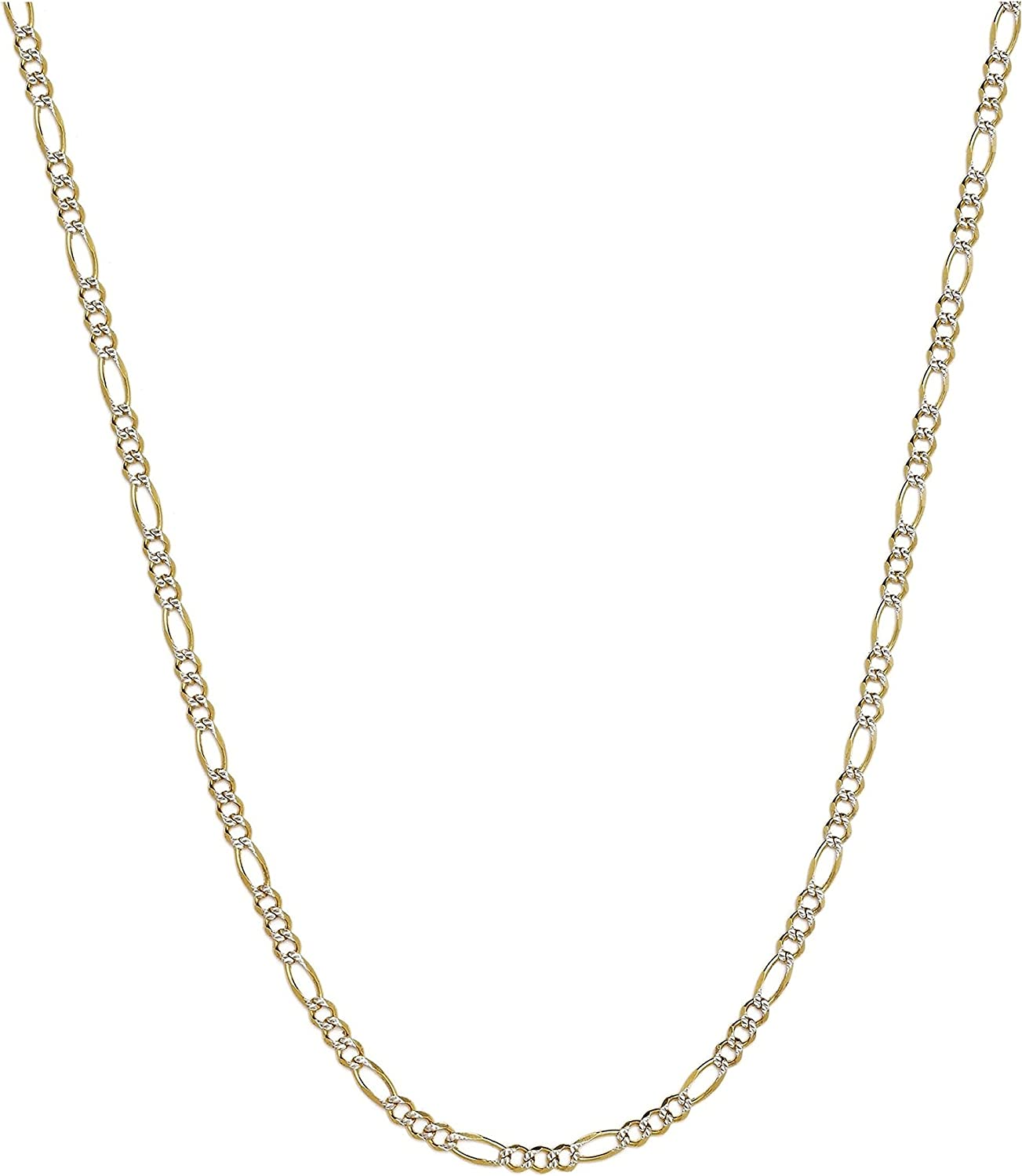 """14K Two-Tone Yellow and White Gold 1.5mm Solid Figaro Pave Chain Necklace- 16""""-30"""" Available"""