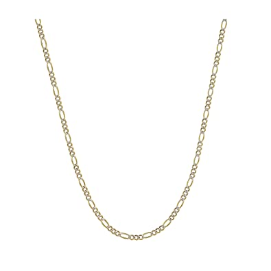 d0ee68178e861 14K Two-Tone Yellow and White Gold 1.5mm Solid Figaro Pave Chain Necklace-  16