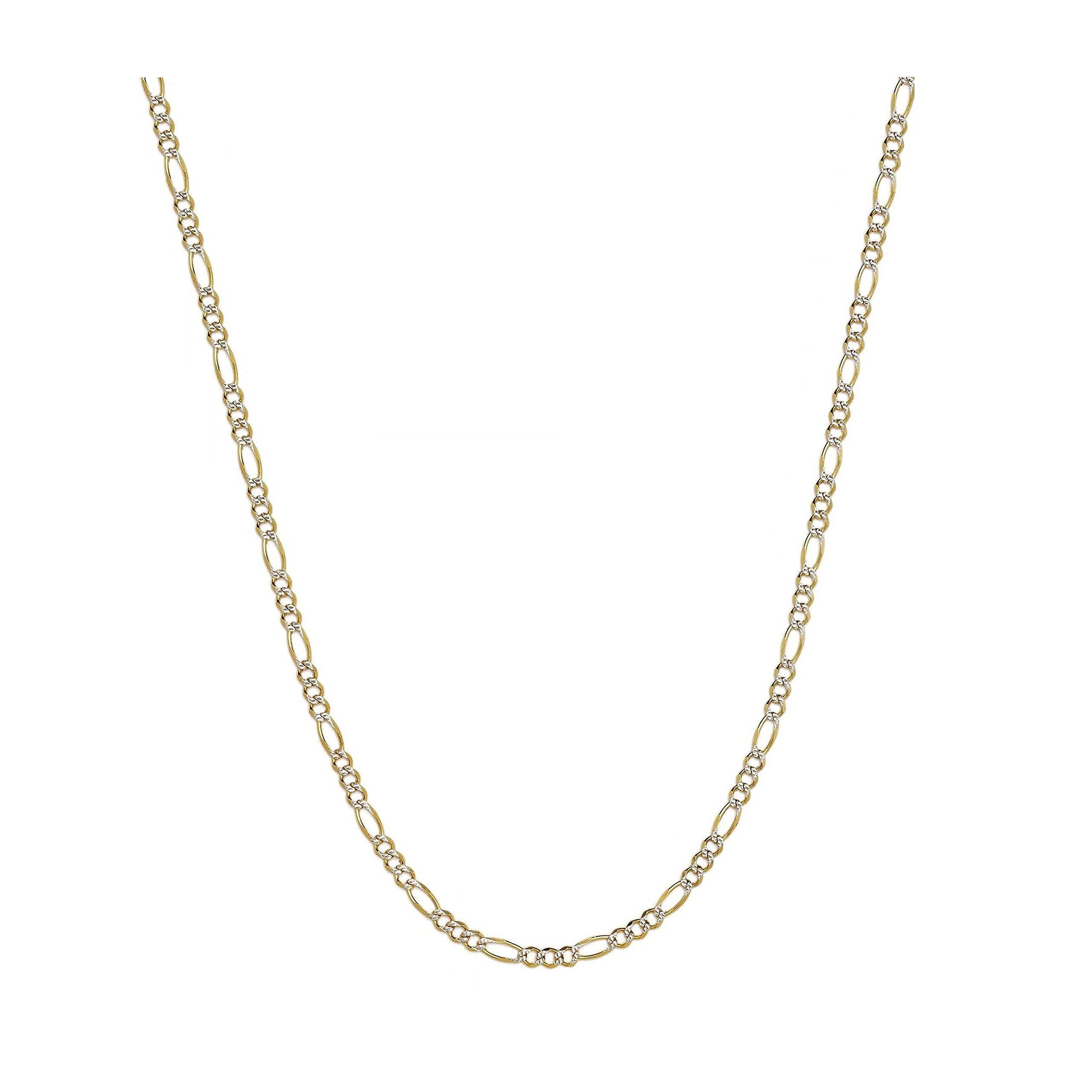 14K Two-Tone Yellow and White Gold 1.5mm Solid Figaro Pave Chain Necklace- 30''