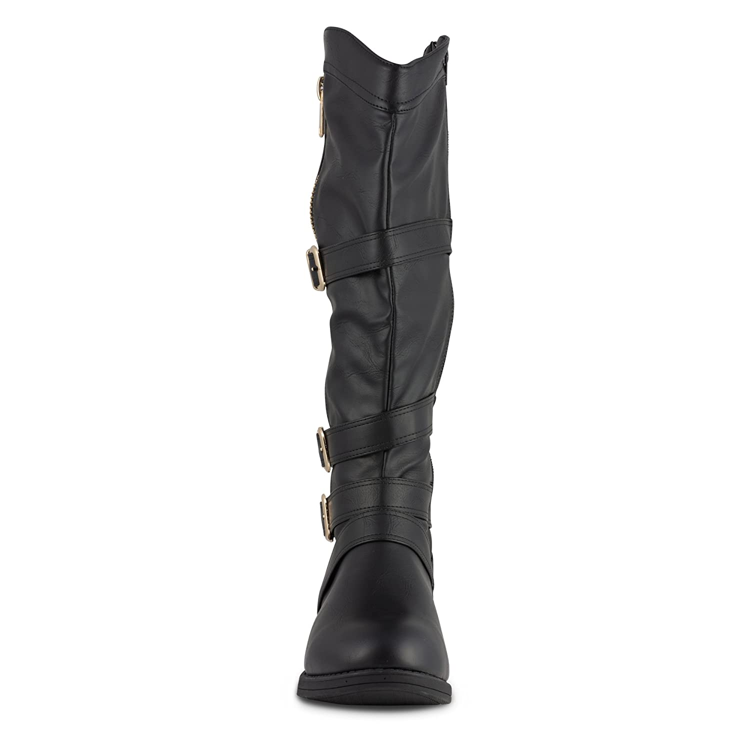 Twisted Women's AMIRA Wide Width/Wide Calf Flat Faux Leather Knee-High Western Flat Calf Riding Boot with Multi Buckle Straps B012H7F4VS 12 W US Women|Black 3cc9f1