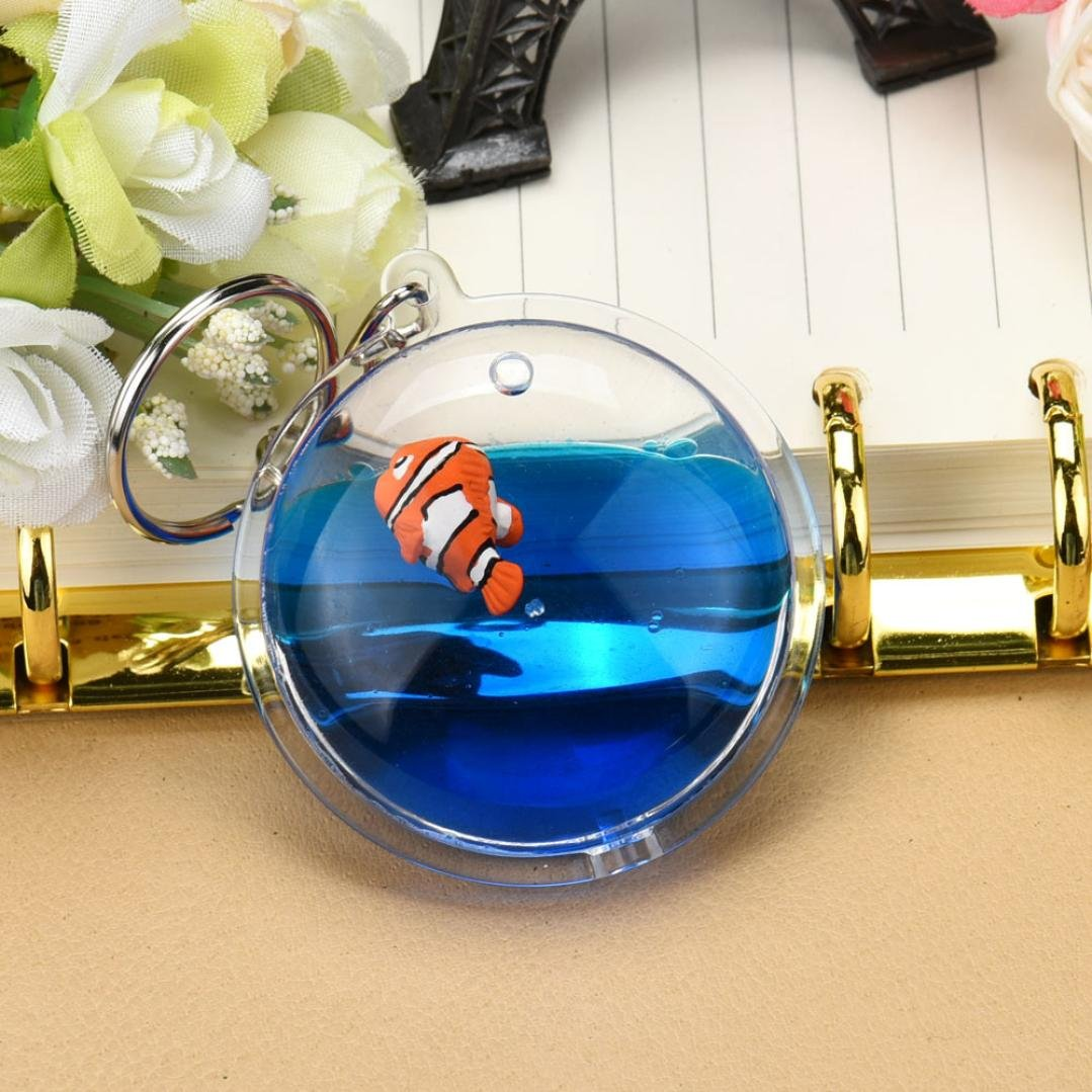 Fish in Moving Liquid Keychain, SUPPION Mini Filled Bottle Round Keychain (Fish) by Suppion (Image #4)