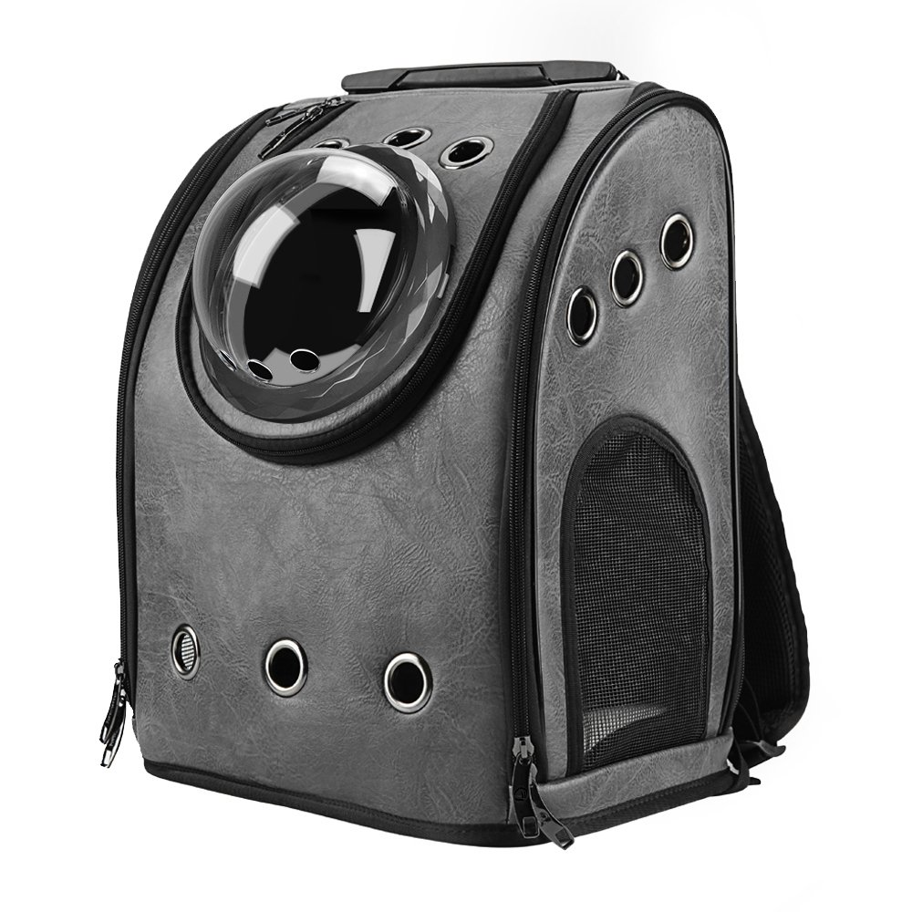 Ash Black (One Size, Ash Black) Texsens Innovative Traveller Bubble Backpack Pet Carriers Airline Travel Approved Carrier Switchable Mesh Panel for Cats and Dogs