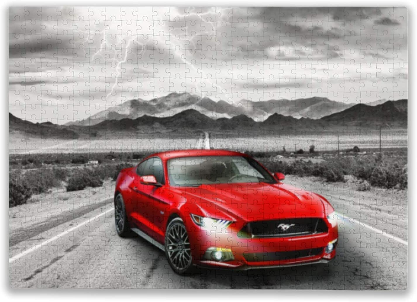 2015 Ford Mustang GT Fifty Years of Power Jigsaw Puzzles 300 Pieces Car Puzzles for Adults - Cozy Retreat Decor 300 Pieces Large Format Family Games Puzzles- Every Piece is Unique and Best Game Gifts