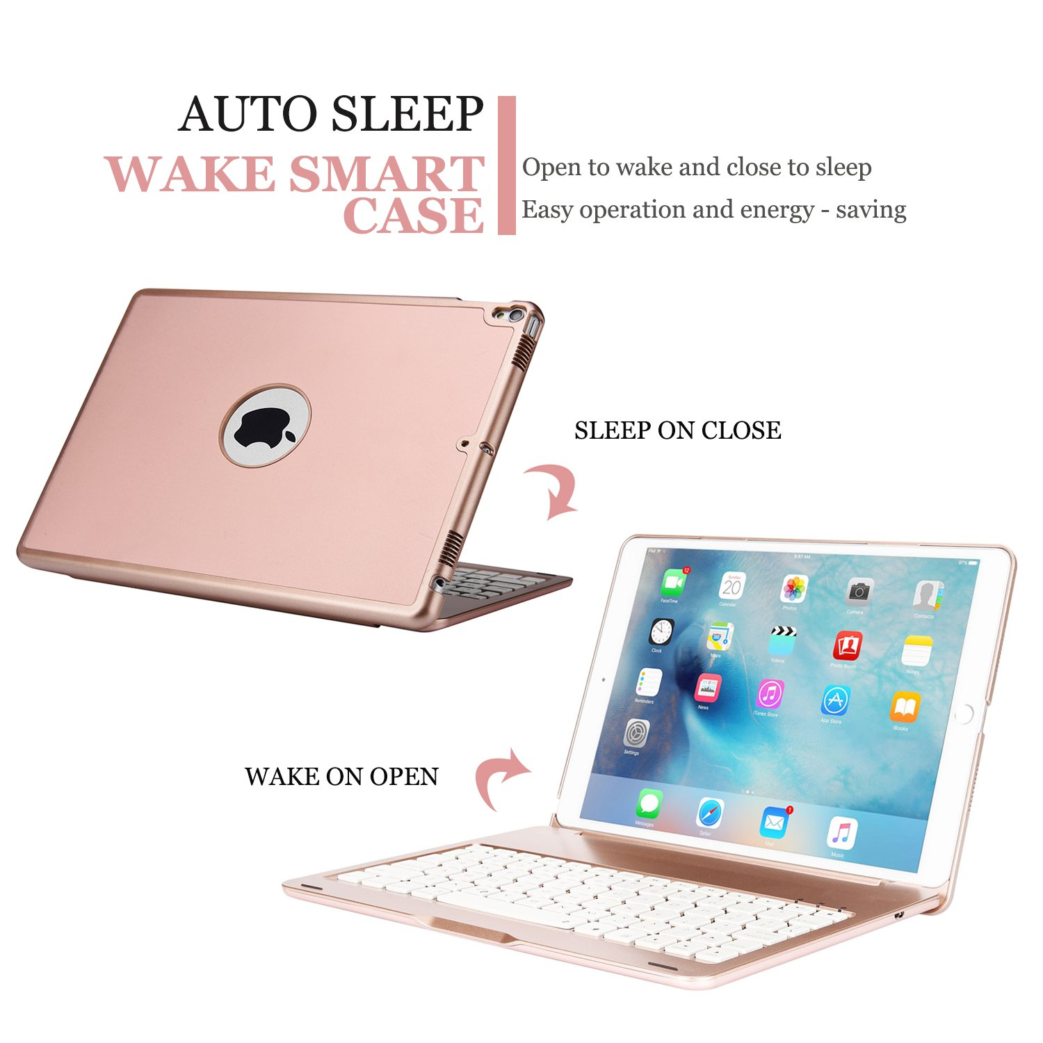 ONHI Bluetooth Wireless Keyboard Case for iPad Pro 10.5 Keyboard Case Aluminum Shell Smart Folio Case with 7 Colors Back-lit, Auto Sleep/Wake,Silent Typing (A1701/A1709)(Rose Gold) by ONHI (Image #3)