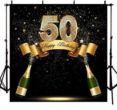 Happy 50th Birthday Backdrop Black and Gold Fifty Birthday Photography Background 6x6ft Pink Silver Step and Repeat Birthday Backdrops for Party Decorations Fete Day Photo Supplies Anniversary Banner