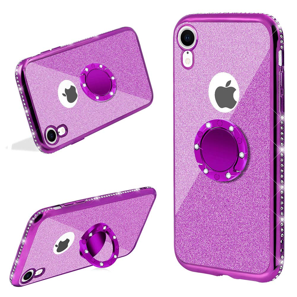 LCHDA 2 in 1 Glitter Silicone Case For iPhone X//iPhone XS,Bling Sparkle Diamond Rhinestone Bumper Cute Luxury Sparkle Shockproof Protective Girl Women Cover with Screen Protector,Purple
